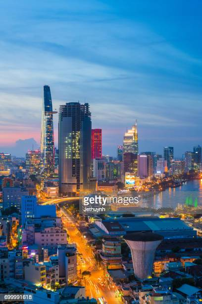 Ho Chi Minh cityscape by night vertical