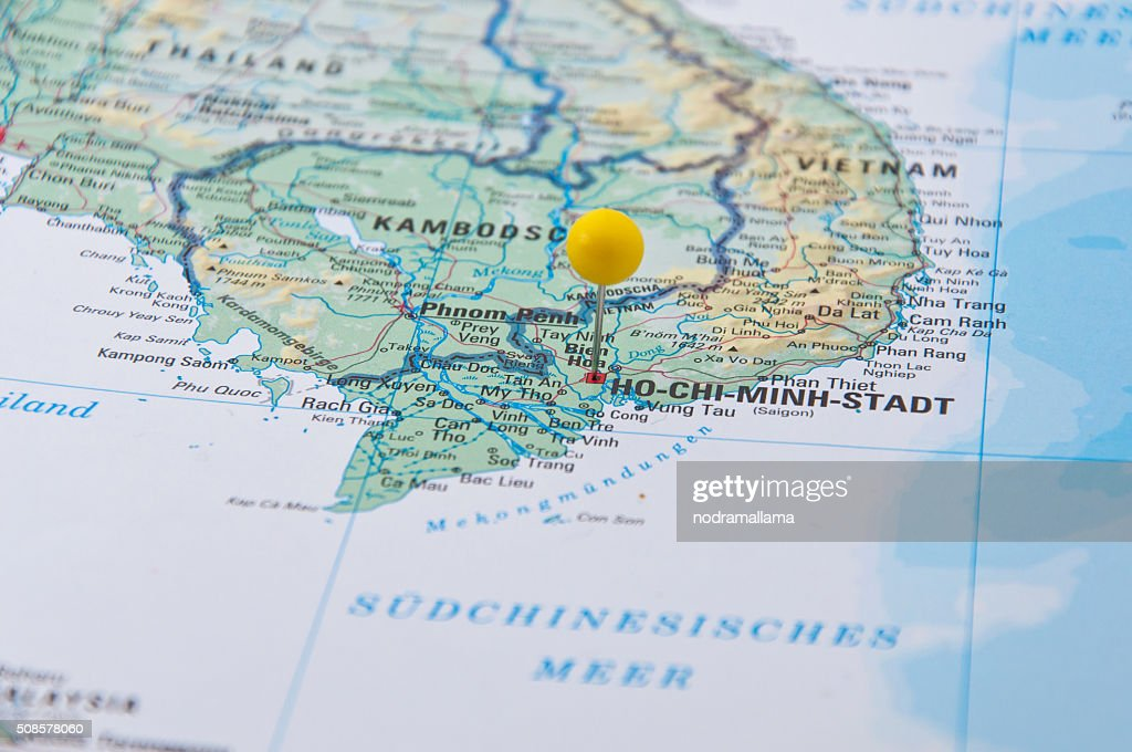 Ho Chi Minh, Vietnam, Yellow Pin, Close-Up of Map. : Stockfoto