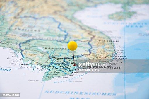 Ho Chi Minh, Vietnam, Yellow Pin, Close-Up of Map. : Stock Photo