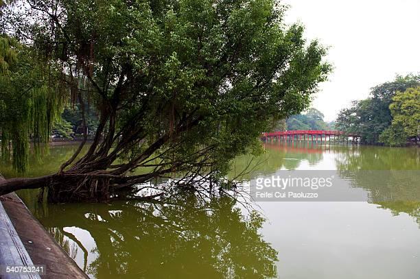 Hoan Kiem Lake and Huc Bridge Hanoi Vietnam
