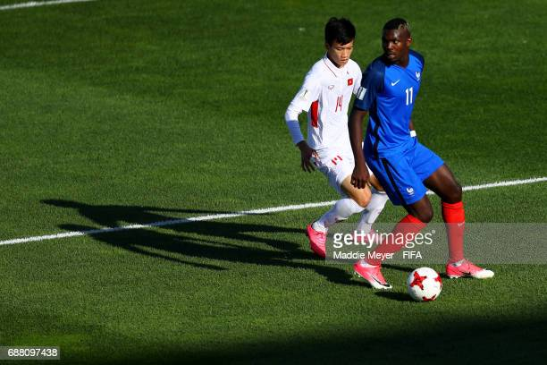 Hoang Duc Nguyen of Vietnam defends Marcus Thuram of France during the FIFA U20 World Cup Korea Republic 2017 group E match between France and...