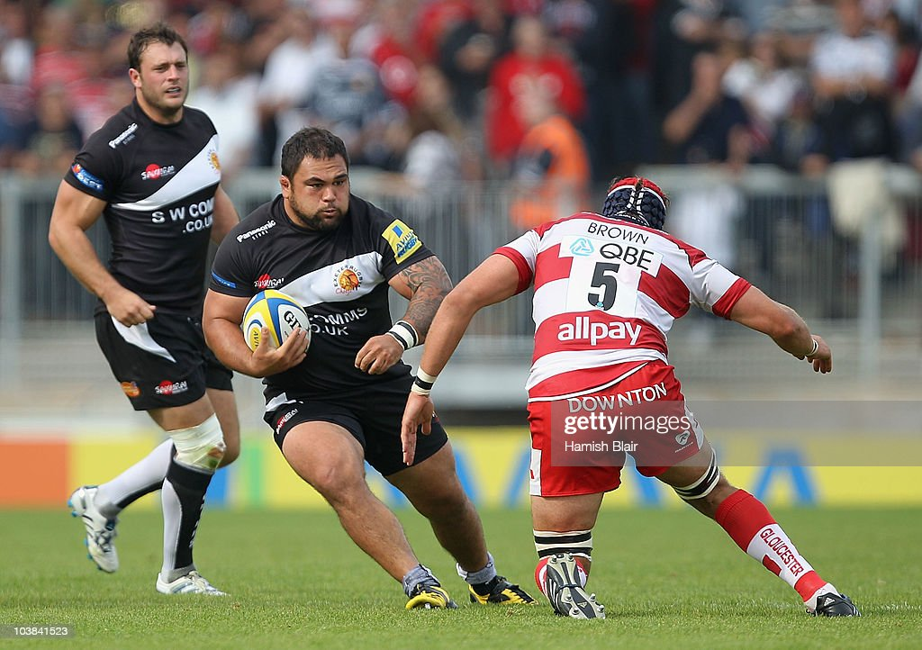Hoani Tui of Exeter attempts to get past Alex Brown of Gloucester during the AVIVA Premiership match between Exeter Chiefs and Gloucester played at...