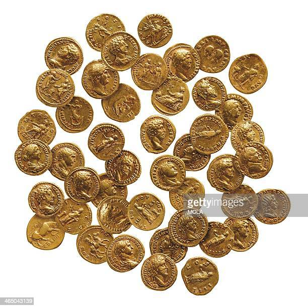 Hoard of 43 Roman gold coins or aurei from London found in a stonelined 'deposit box' beneath the floor of a Roman townhouse coins date from AD 65 to...