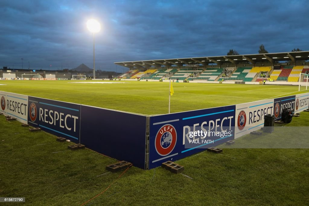 Hoarding around the pitch shows the 'Respect' logo as part of UEFA's 'No To Racism' campaign before kick off of the UEFA Europa League group D football match between Dundalk and Zenit Saint Petersburg at Tallaght Stadium in Dublin on October 20, 2016. / AFP / PAUL