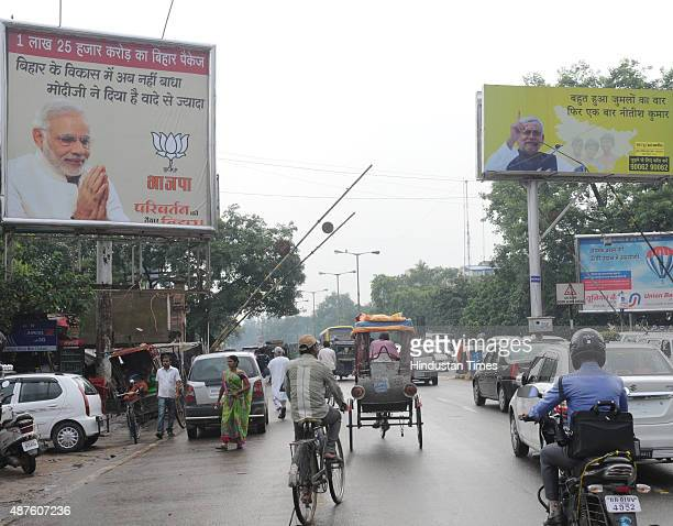Hoardings of BJP and JDU erected besides a road ahead of the upcoming Bihar Elections on September 10 2015 in Patna Bihar India Bihar will go for a...