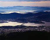 Hobart and the Derwent River from Mt Wellington - Hobart, Tasmania