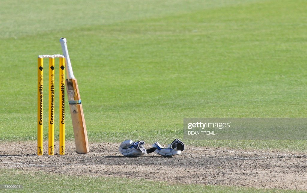 A bat rests on the stumps at a drinks break during match 3 of the Commonwealth Bank Series between England and the New Zealand Black Caps at the...