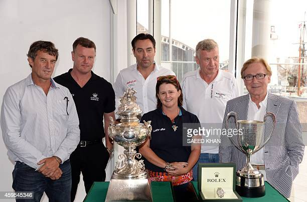 Hobart yacht race Skippers James Cameron Anthony Bell Mark Richards Danielle Ovenden Paul Clitheroe and Darryl Hodgkinson pose for photo in front of...