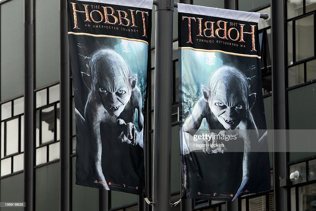 Hobbit flags hang from lampposts on Courtney Place ahead of the 'The Hobbit: An Unexpected Journey' world premiere on November 25, 2012 in Wellington, New Zealand.