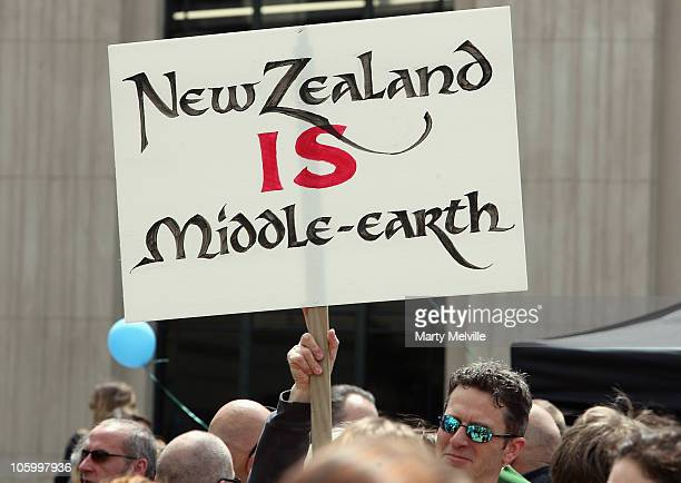 Hobbit supporter holds up a poster in support of the Hobbit movie at Civic Square on October 25 2010 in Wellington New Zealand Stakeholders of the...