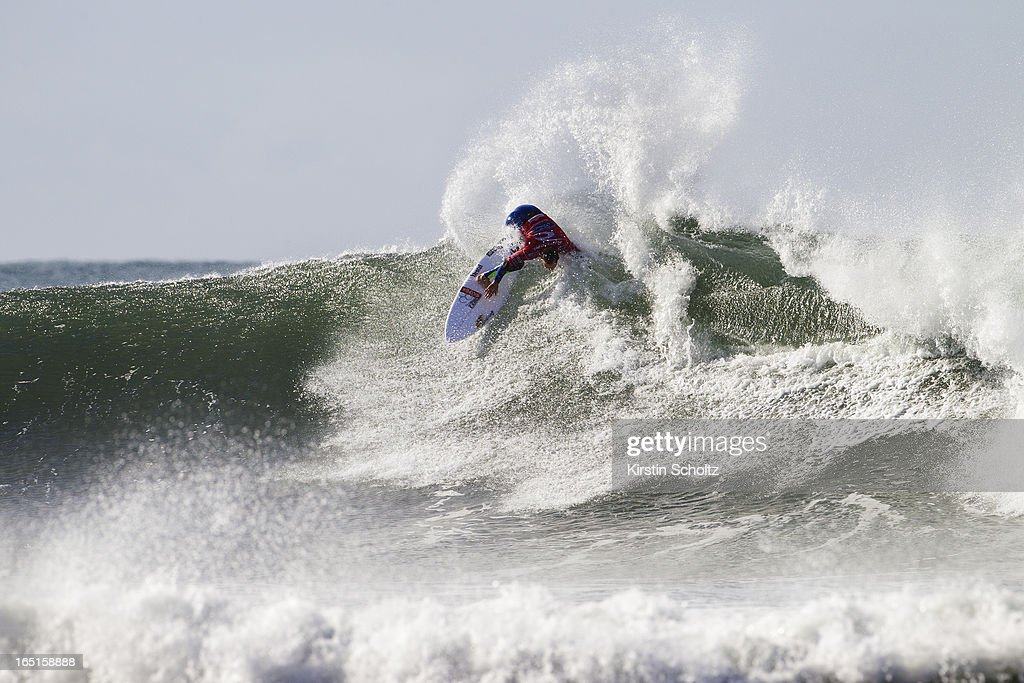 CJ Hobgood of the United States of America surfs during round three of the Rip Curl Pro on April 1, 2013 in Bells Beach, Australia.