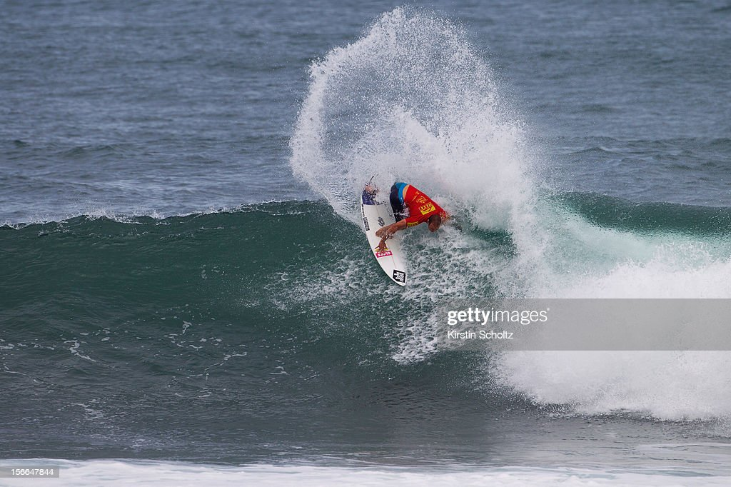 CJ Hobgood of the U.S. surfs during Round 64 of the Reef Hawaiian Pro on November 17, 2012 in Haleiwa, Hawaii.
