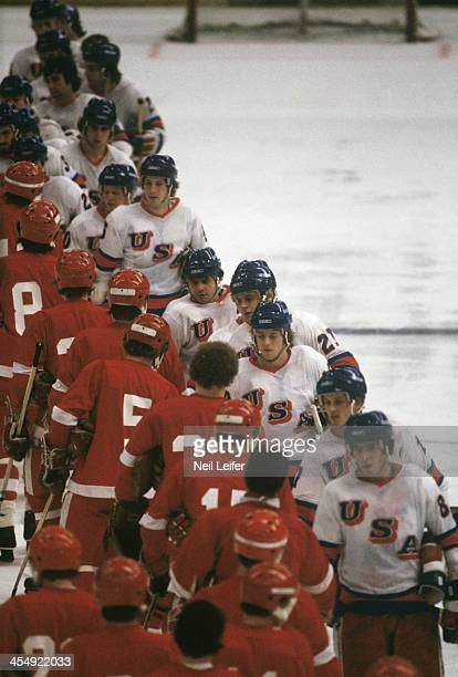 1980 Winter Olympics Overall view of Team USA players and USSR players shaking hands after Medal Round game at Olympic Fieldhouse in the Olympic...