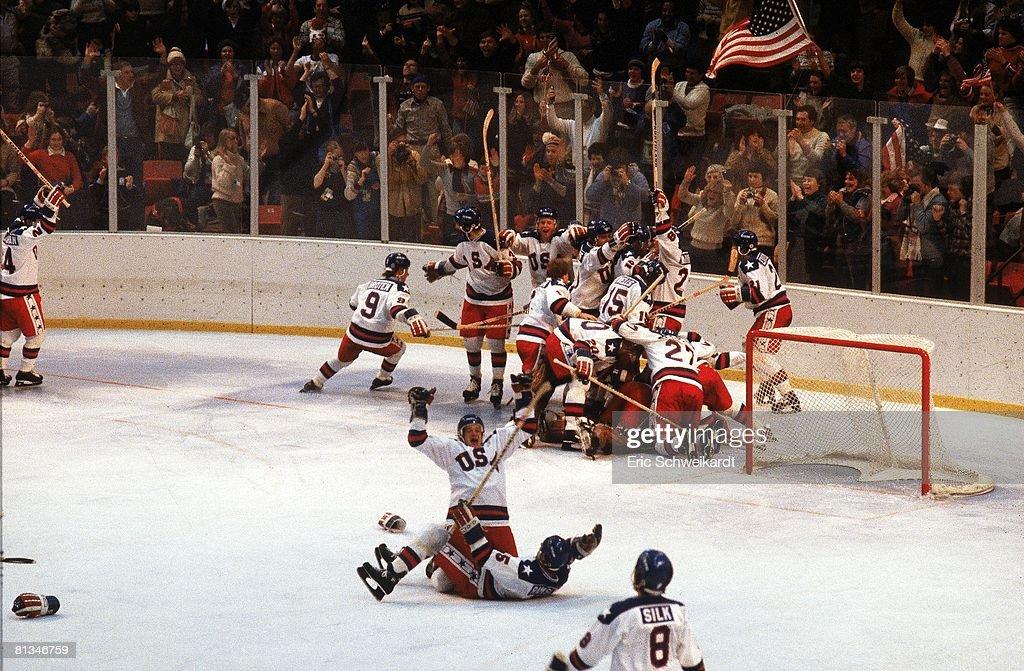 Hockey 1980 Winter Olympics USA hockey team victorious after game vs USR Lake Placid NY 2/22/1980