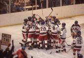 Hockey 1980 Winter Olympics USA hockey team victorious after game vs CZE Lake Placid NY 2/14/19802/22/1980