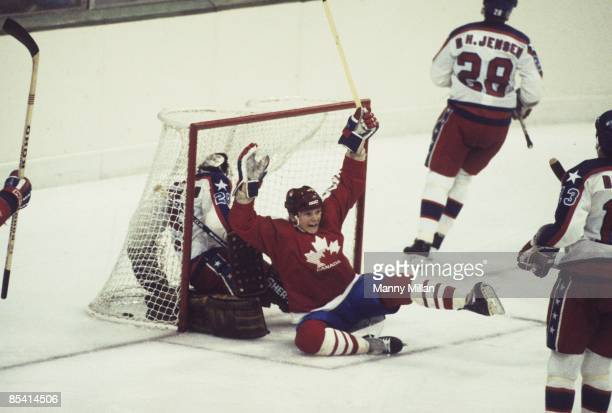 1984 Winter Olympics Canada Carey Wilson victorious after scoring goal for hat trick during Men's Group B match vs USA at Olympic Hall Zetra Sarajevo...
