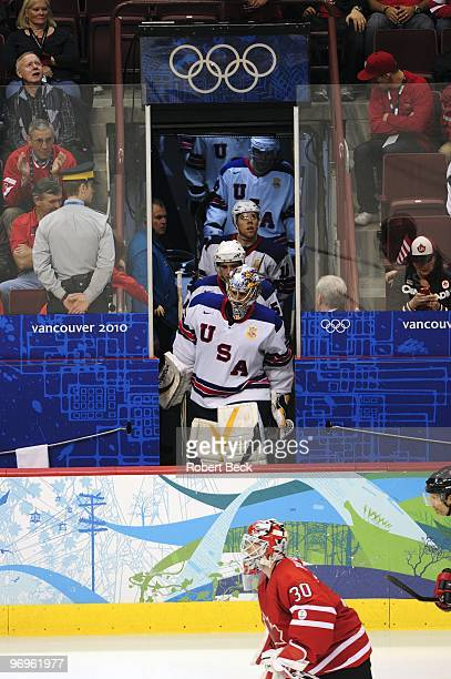 2010 Winter Olympics USA goalie Ryan Miller entering ice from tunnel during Men's Preliminary Round Group A Game 17 vs Canada at Canada Hockey Place...