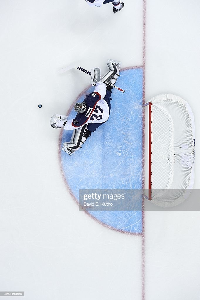 Aerial view of USA goalie Jonathan Quick (32) in action, making save vs Slovakia during Men's Preliminary Round - Group A game at Shayba Arena. David E. Klutho X157639 TK1 R6 F1 )