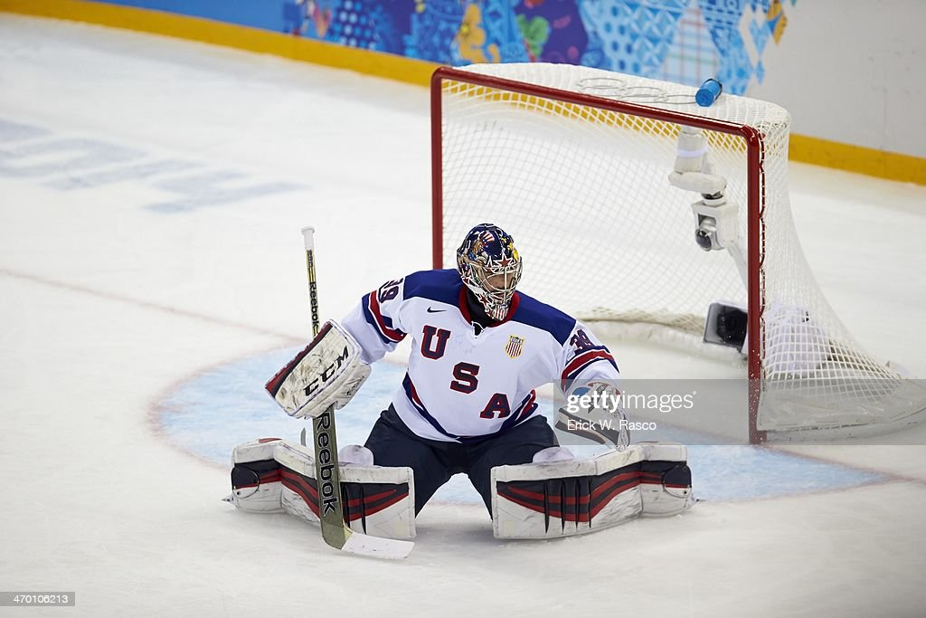 USA goalie Ryan Miller (39) in action vs Slovenia during Men's Preliminary Round - Group A at Shayba Arena. Erick W. Rasco X157747 TK1 R1 F192 )