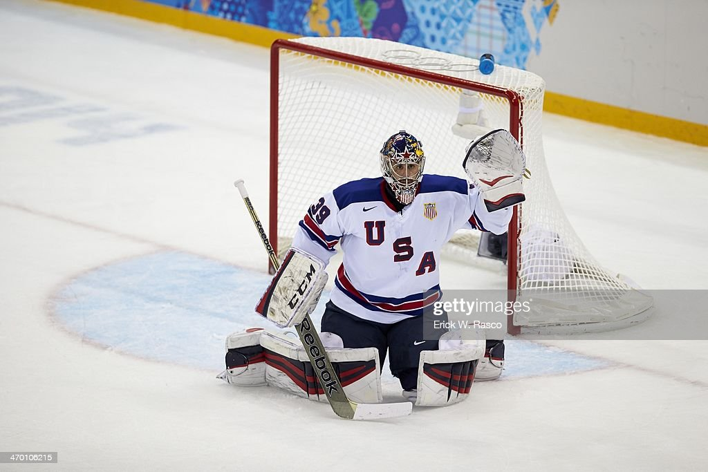 USA goalie Ryan Miller (39) in action vs Slovenia during Men's Preliminary Round - Group A at Shayba Arena. Erick W. Rasco X157747 TK1 R1 F418 )