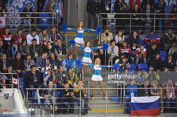 2014 Winter Olympics View of cheerleaders in stands during Canada vs USA Women's Preliminary Round Group A game at Shayba Arena Sochi Russia...