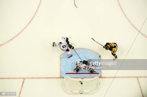 Aerial view of Edmonton Oilers goalie Cam Talbot and Adam Larsson in action vs Pittsburgh Penguins Patric Hornqvist at PPG Paints Arena Pittsburgh PA...