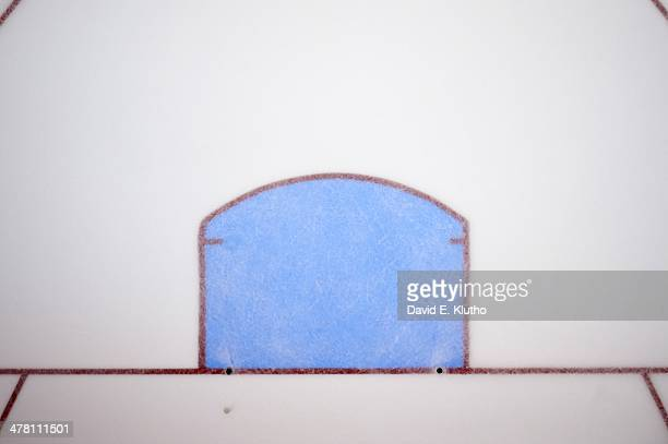 Aerial view of goal crease with no net before St Louis Blues vs Tampa Bay Lightning game at Scottrade Center St Louis MO CREDIT David E Klutho
