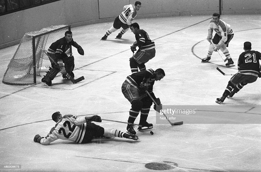 Aerial view of Montreal Canadiens goalie Jacques Plante (1) in action vs New York Rangers at Madison Square Garden. New York, NY 1/3/1959 - CREDIT: Neil Leifer