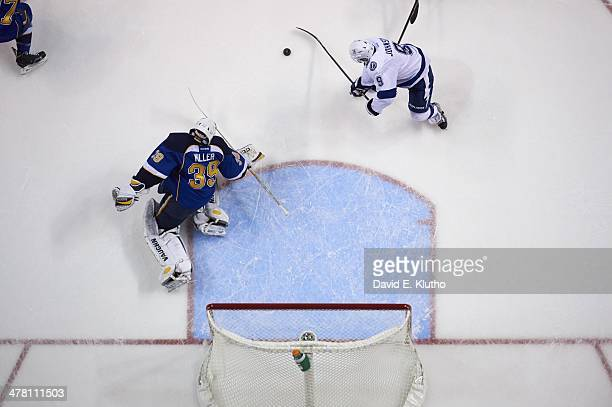Aerial view of St Louis Blues goalie Ryan Miller in action vs Tampa Bay Lightning Tyler Johnson at Scottrade Center St Louis MO CREDIT David E Klutho
