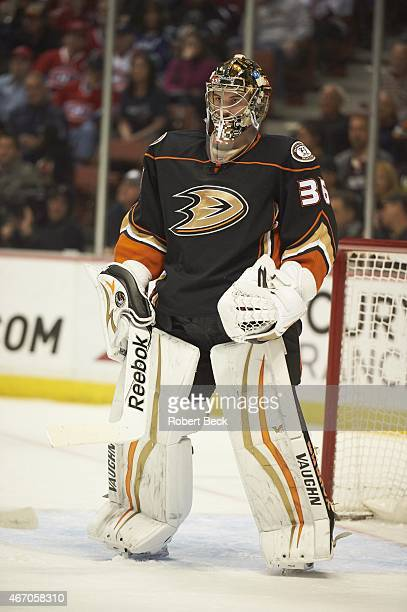 Anaheim Ducks goalie John Gibson during game vs Montreal Canadiens at Honda Center Anaheim CA CREDIT Robert Beck