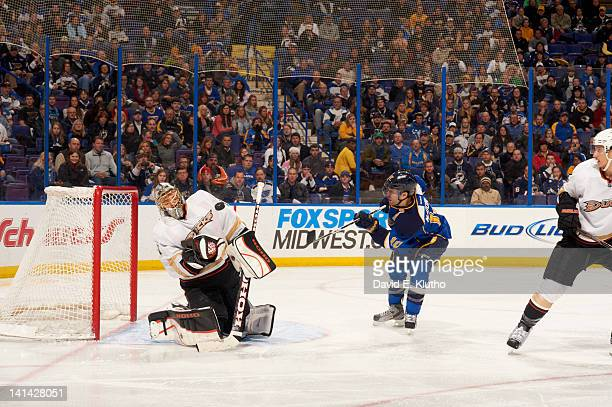 Anaheim Ducks goalie Jonas Hiller in action vs St Louis Blues Andy McDonald at Scottrade Center St Louis MO CREDIT David E Klutho