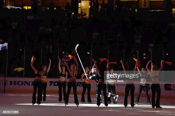 Anaheim Ducks Stephane Robidas introduced as star of the game with cheerleaders on ice after winning game vs Winnipeg Jets at Honda Center Anaheim CA...
