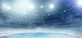 Professional hockey stadium arena in indoors stadium full of spectators