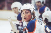 Hockey Closeup of Edmonton Oilers Wayne Gretzky on bench during game