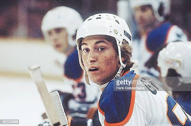 Hockey Closeup of Edmonton Oilers Wayne Gretzky on bench during game
