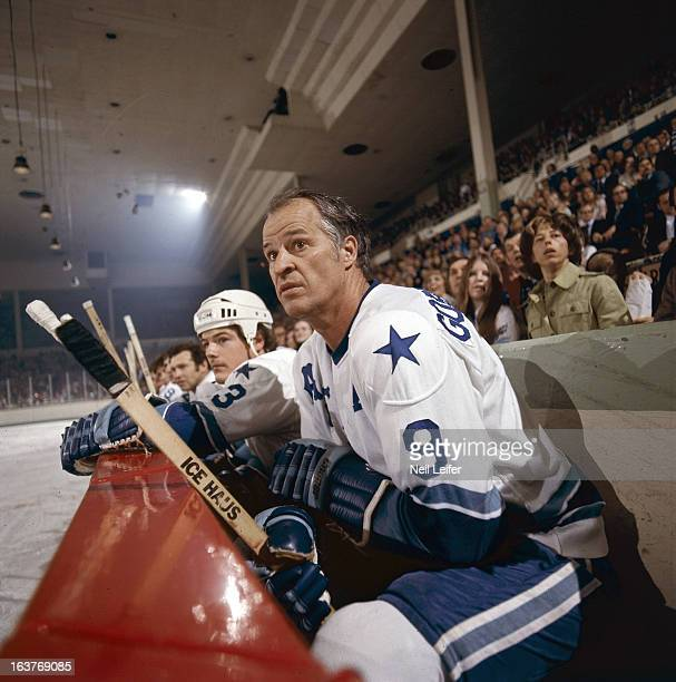 Closeup of Houston Aeros Gordie Howe on bench during game vs Alberta Oilers at Sam Houston Coliseum Houston TX CREDIT Neil Leifer