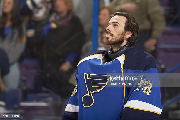 Closeup of St Louis Blues goalie Ryan Miller during anthem before game vs Tampa Bay Lightning at Scottrade Center St Louis MO CREDIT David E Klutho
