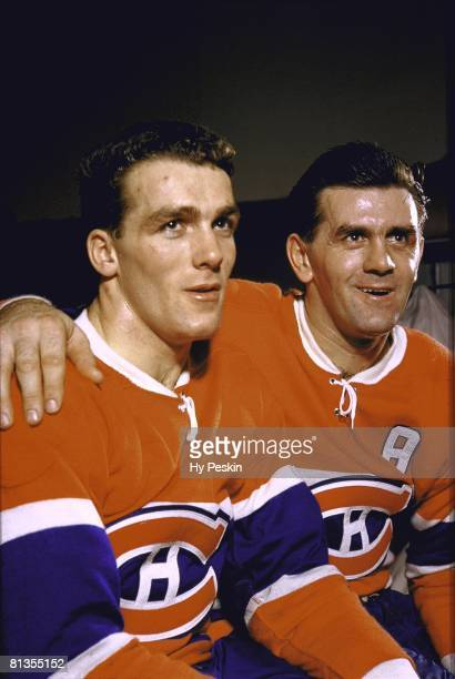 Hockey Closeup portrait of Montreal Canadiens Maurice Richard with brother Henri Richard Montreal CAN