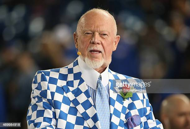 Hockey commentator Don Cherry does a television interview before the Tampa Bay Rays MLB game against the Toronto Blue Jays on April 13 2015 at Rogers...