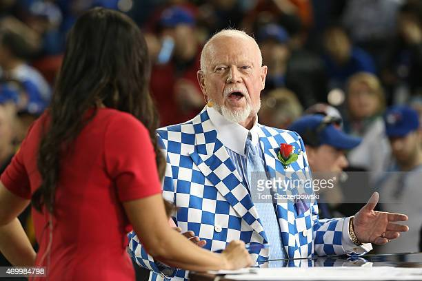 Hockey commentator Don Cherry does a television interview with Hazel Mae before the Tampa Bay Rays MLB game against the Toronto Blue Jays on April 13...