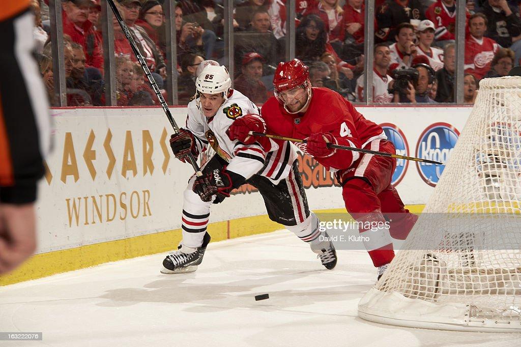 Detroit Red Wings Jakub Kindl (4) in action vs Chicago Blackhawks Andrew Shaw (65) at Joe Louis Arena. David E. Klutho F258 )