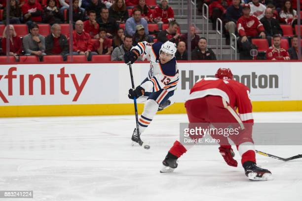 Edmonton Oilers Michael Cammalleri in action shooting vs Detroit Red Wings at Little Ceasars Arena Detroit MI CREDIT David E Klutho