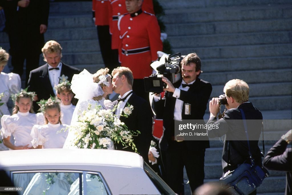 Edmonton Oilers Wayne Gretzky And New Wife Actress Janet Jones Embrace After Leaving The Chapel From