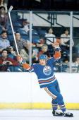 Hockey Edmonton Oilers Wayne Gretzky victorious during game vs Washington Capitals Landover MD 1/15/1982