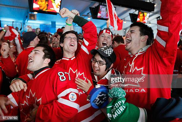 Hockey fans celebrate team Canada's 32 victory over the USA after the ice hockey men's gold medal game on day 17 of the Vancouver 2010 Winter...