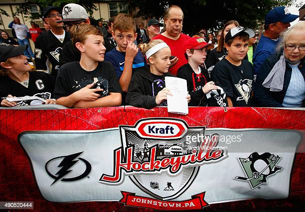 Hockey fans gather outside the Cambria County War Memorial Arena to see the Pittsburgh Penguins and the Tampa Bay Lightning arrive for practice for...