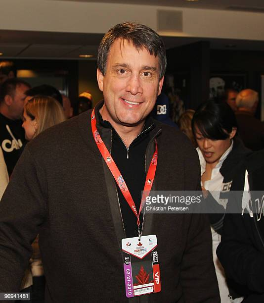 Hockey great Cam Neely poses for a photo in the NHL hockey suite while watching the United States take on Canada at Canada Hockey Place on February...