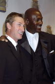 Hockey great Wayne Gretzky and basketball superstar Michael Jordan get together at Sports Illustrated's 20th Century Sports Awards at Madison Square...