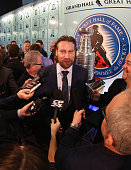 Hockey Hall of Fame inductee Peter Forsberg takes part in a media opportunity at the Hockey Hall of Fame on November 14 2014 in Toronto Canada