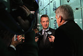 Hockey Hall of Fame inductee Rob Blake takes part in a media opportunity at the Hockey Hall of Fame on November 14 2014 in Toronto Canada